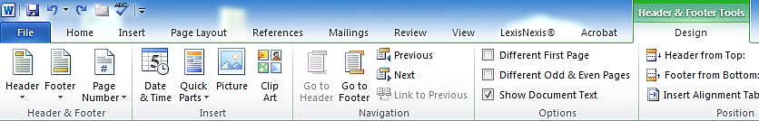 MS Word Toolbar for Headers & Footers