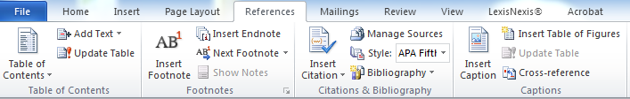 MS Word 2010 Toolbar