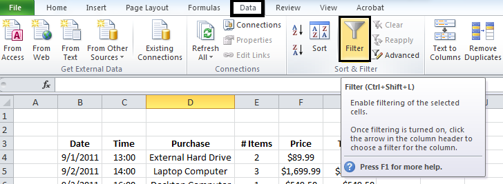 Data Tab in Excel 2010