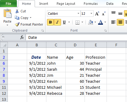 Screenshot of excel document