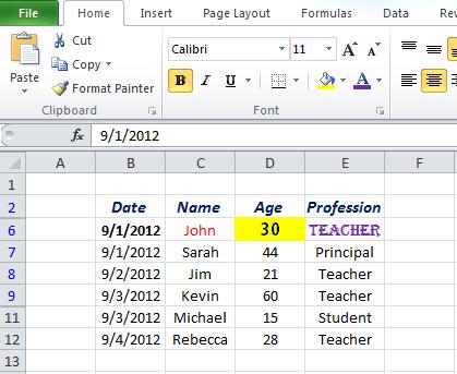 Screenshot of Excel