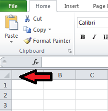 Select All Button in Excel