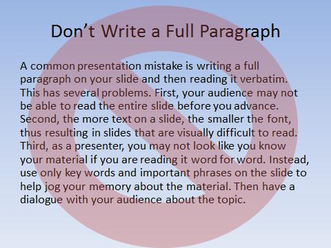 Don't Write a Full Paragraph