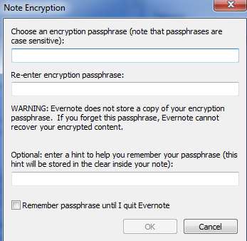 Evernote Encryption Password