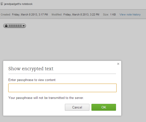 Evernote Web Password Dialog
