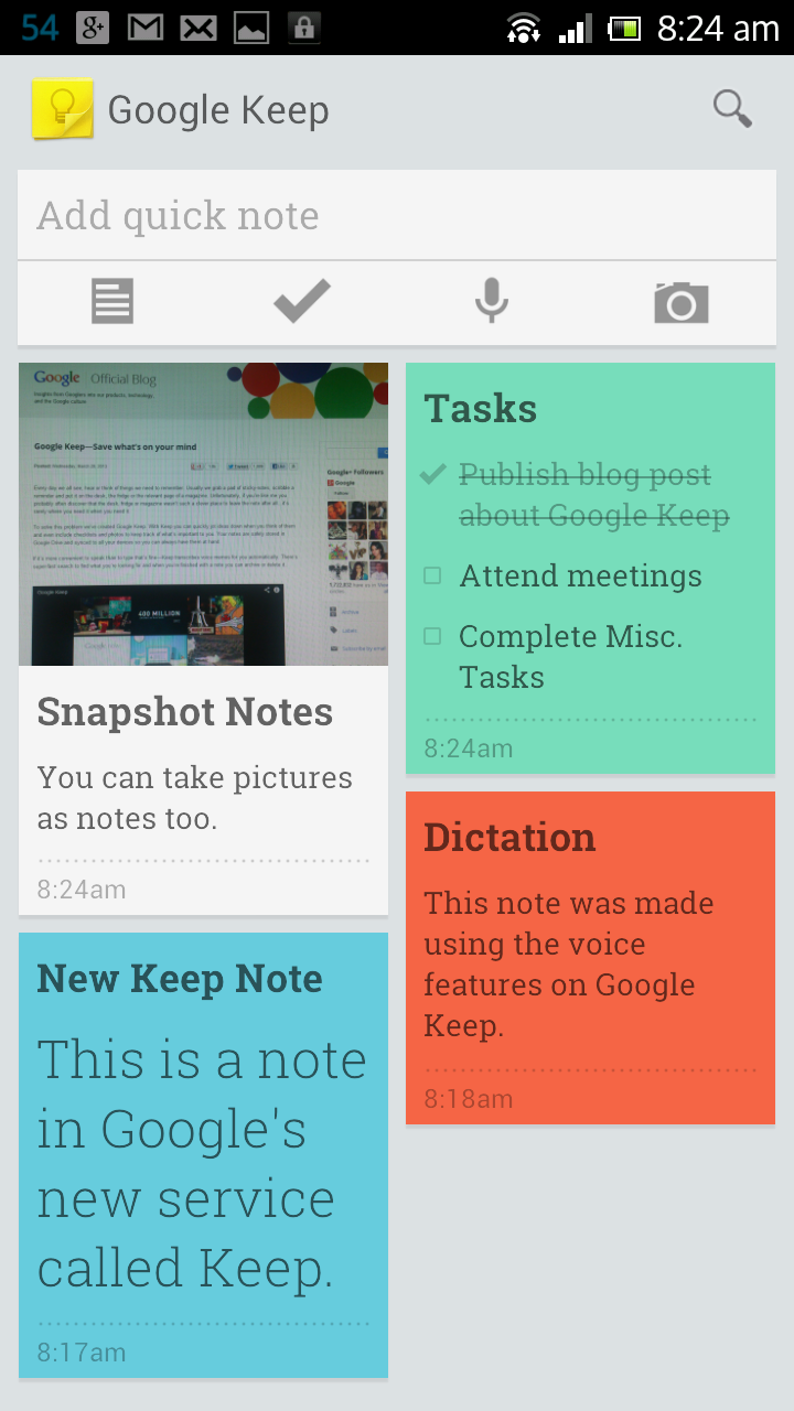 Google Keep phone screenshot