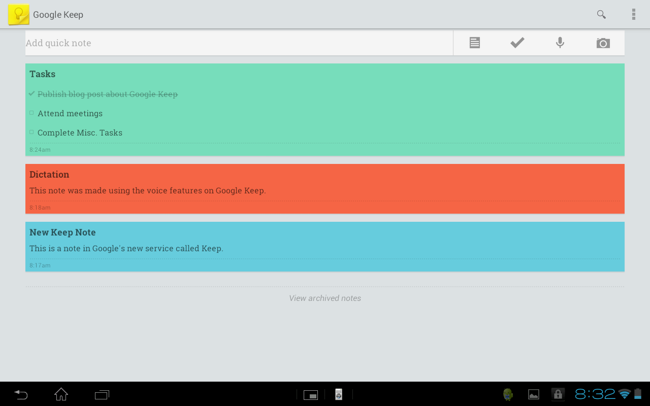 Google Keep tablet sreenshot single column