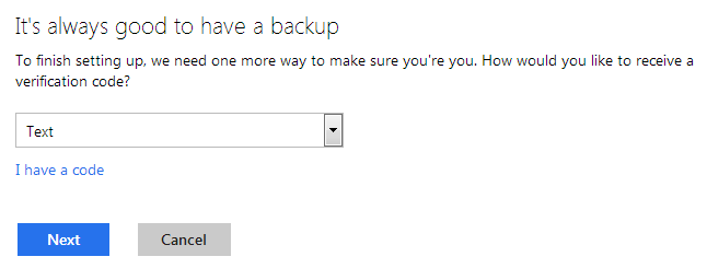 MSN 2 Step Backup Code