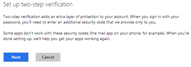MSN 2 Step Verification Start