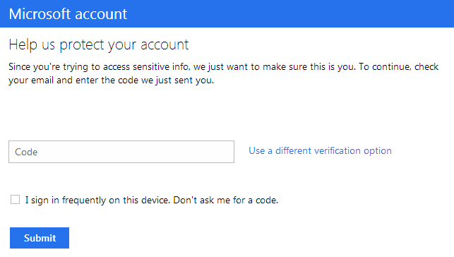 MSN Authentication Setup Security Code